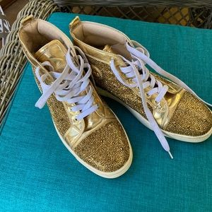 CHRISTIAN LOUBOUTIN Gold Crystals HiGH TOP SNEAKER